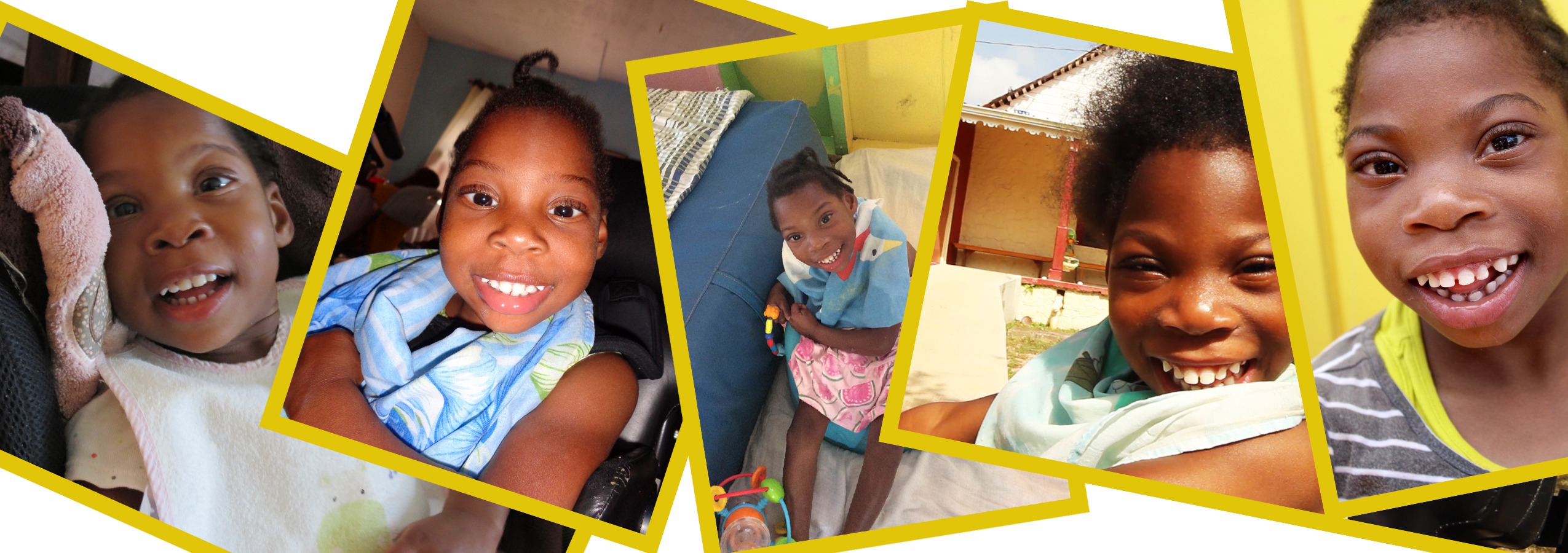 Four photos of Joy, a child in a wheelchair, from when she was 2 years old to when she was 9 years old.