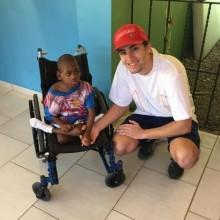 volunteer & resident in wheelchair